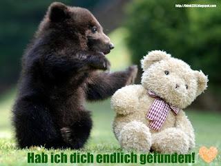 ein bär und ein teddybär finden sich herz: endlich habe ich dich gefunden!