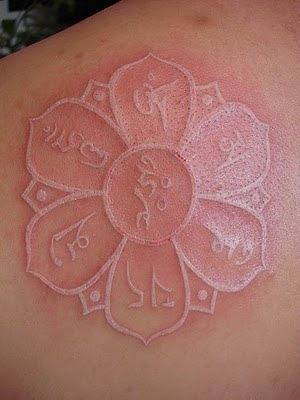 White ink tattoo art designs for White lotus tattoo