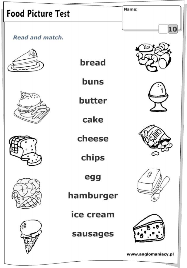 FUN ENGLISH KIDS - INFANT and PRIMARY: WORKSHEET - Food
