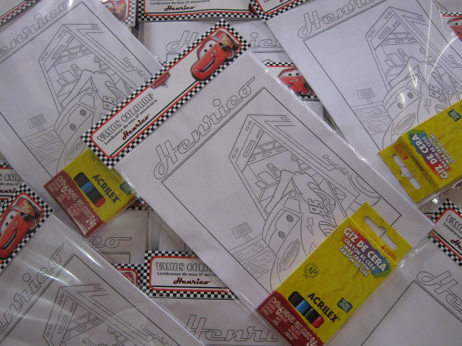 TEMA CARROS Kit Para Colorir E Marmitinha