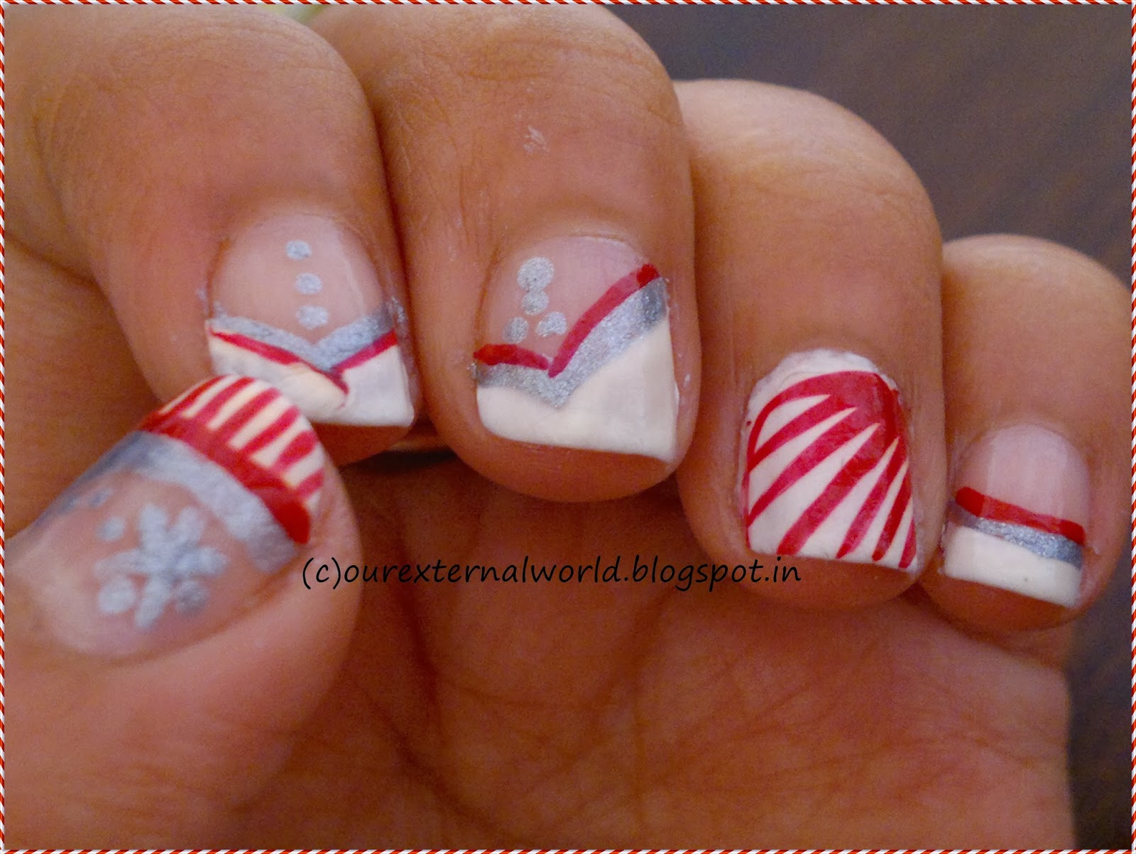 Christmas nail art candy cane nails with tutorial christmas nail art candy cane nails prinsesfo Choice Image