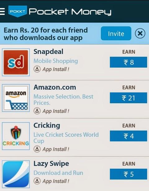 Pocket Money (Pokkt) App Referral Offer - Get Rs 20 Free Recharge Per Invite