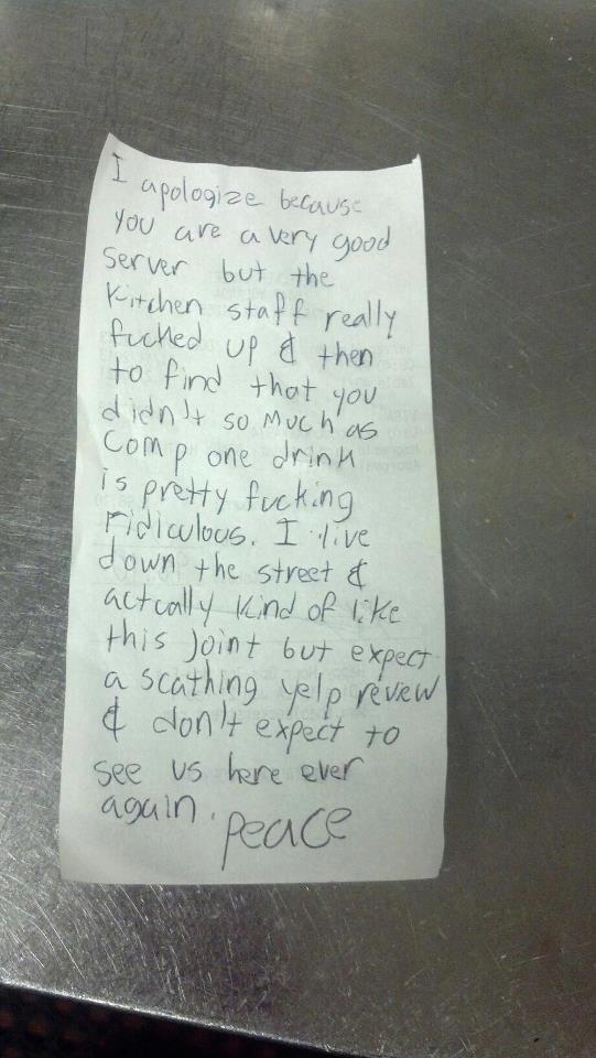 the bitchy waiter: Be Grateful Instead of Writing Asshole Notes, Asshole