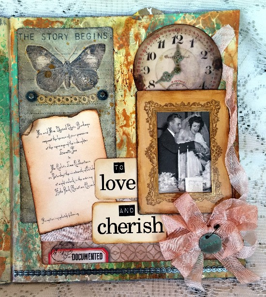 Tim Holtz Layering Stencil Monoprint Vintage Art Journal Page