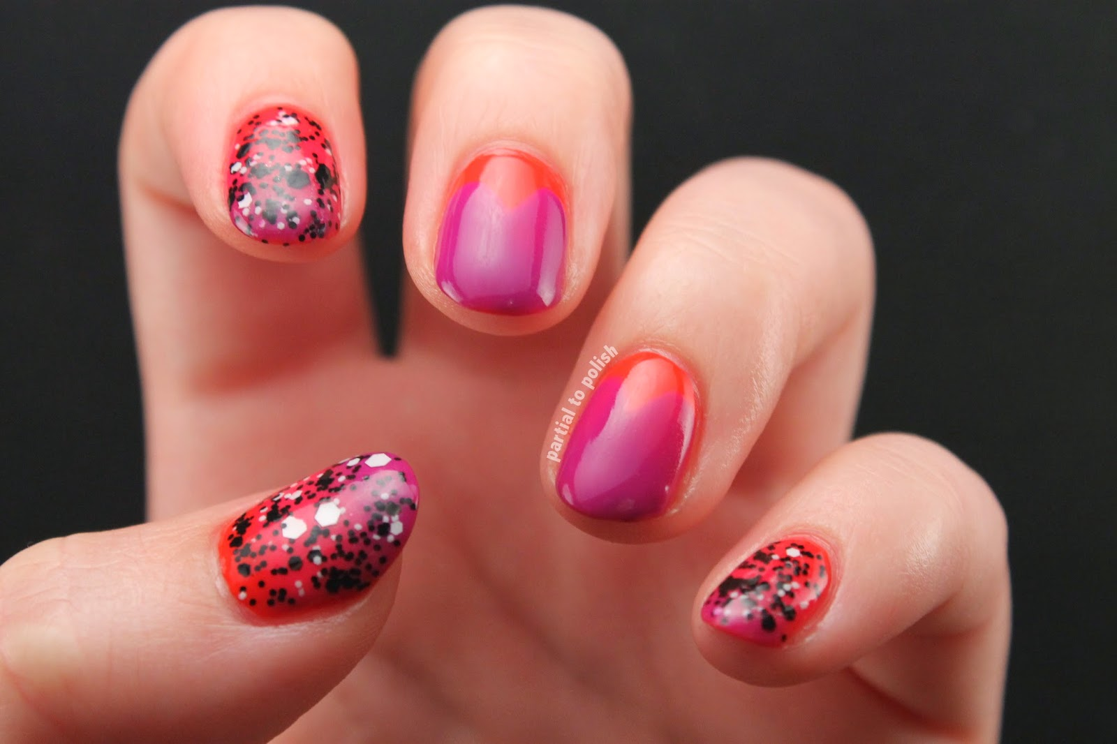 Red and Purple Gradient and Half Moon Heart Nail Art