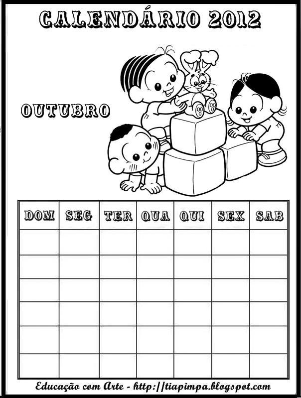 Capas para cadernos - Turma da Mônica e Calendário da
