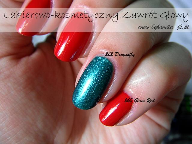 My Secret lakier Glam & Shine 262 Dragonfly 265 Glam Red Natura zielony błyszczący czerwony kremowy bez drobinek