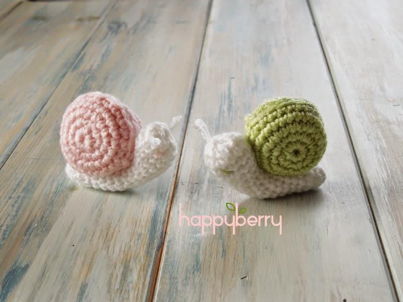 Happy Berry Crochet Crochet Micro Miniature Snail Pattern