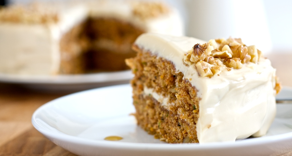 Zucchini Carrot Cake with Mapel Brown Sugar Frosting