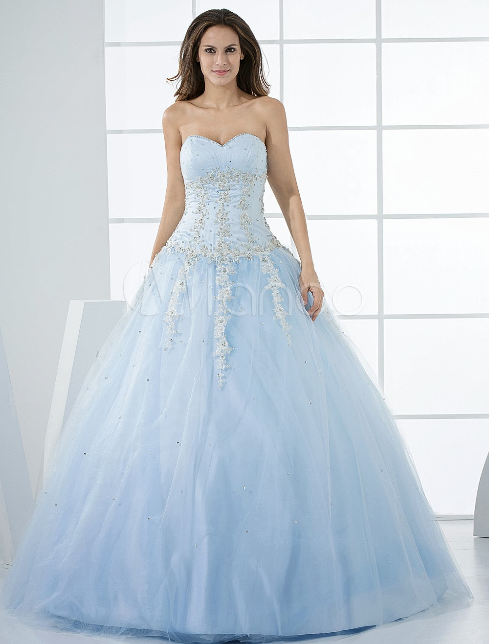 China Wholesale Dresses - Grace Light Sky Blue Ball Gown Sweetheart Neck Quinceanera Dress