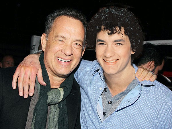 Tom Hanks in 2014 (left) and in 1980