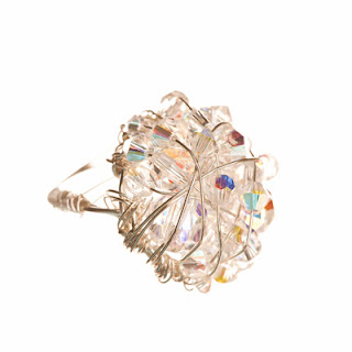 Crystal ring, cocktail ring, elisha francis, swarovski crystal ring, women's jewelry