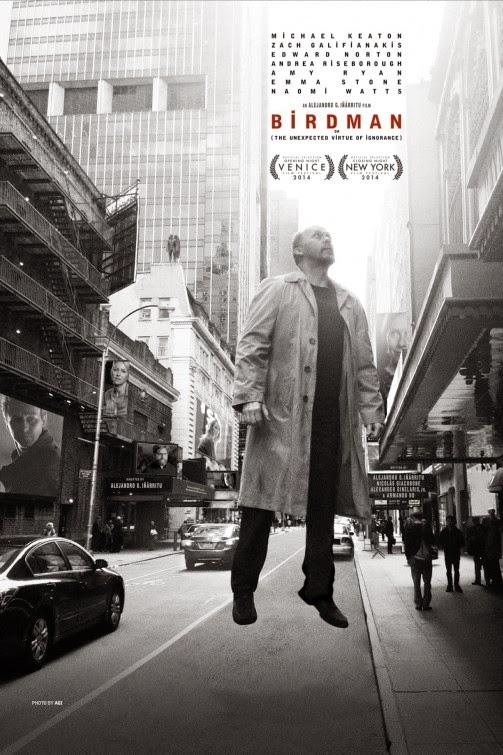 Birdman, Directed by Alejandro González Iñárritu, Movie Poster, starring Michael Keaton, Edward Norton, Emma Stone, Naomi Watts, Zach Galifianakis