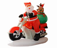 6.5' Airblown Inflatable Motorcycle Santa Claus Lighted Christmas Yard Art Decor