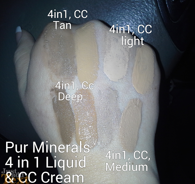Pur Minerals CC Cream & 4-in-1 Liquid Foundation Review Swatches of Shades Light, Medium, Tan Deep, Broad Spectrum SPF 15 & SPF 40