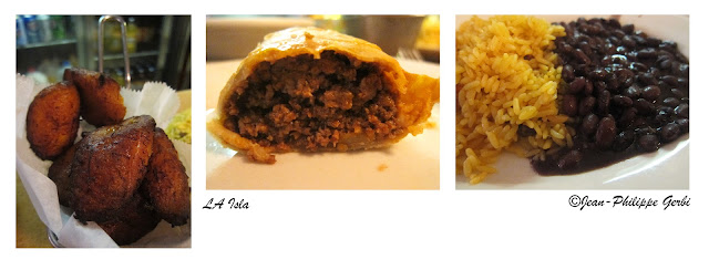 Image of Food at La Isla in Hoboken - empanada, rice and beans, tostones