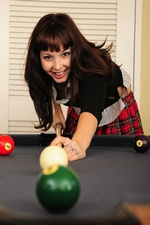 Naughty schoolgirl Ivy Snow plays with her pussy on a pool table