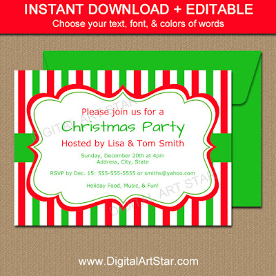 Striped Christmas Invitation