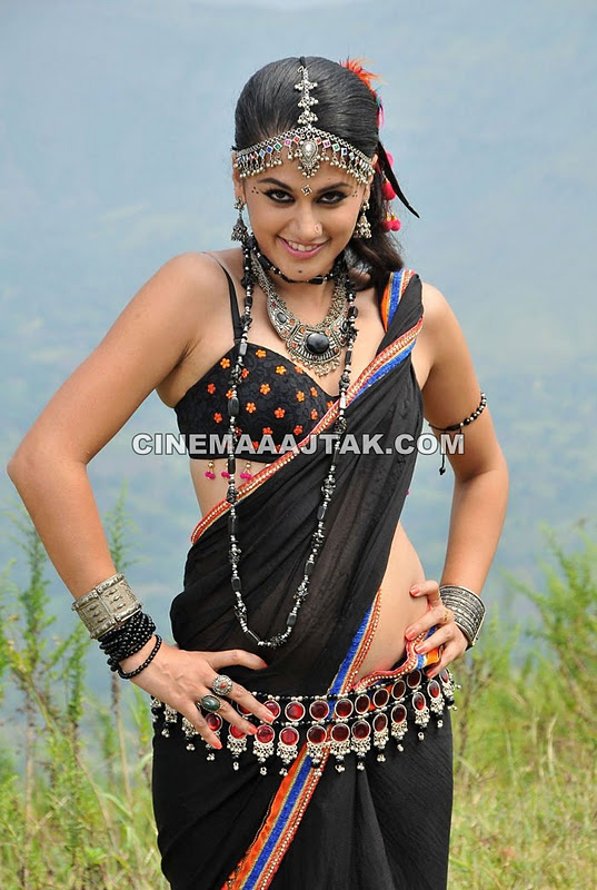 , Tapsee In Black Saree With Polka Dots - Hot Pics