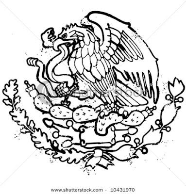 Imagenes para colorear: Escudo nacional mexicano para iluminar
