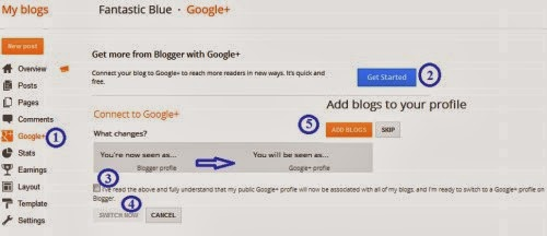 Setting blogger profile google plus