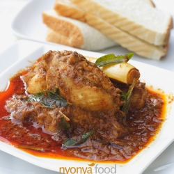 Nyonya Chicken Curry Rasa Malaysia recipe with spices curry leaf, star anise, cloves, cinnamon-cassia, turmeric, chili, coriander seed, fennel seed, cumin, lemongrass