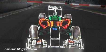 Lukisan Kereta F1 Dengan Menggunakan Lighting Yang Cantik Dan Kreatif