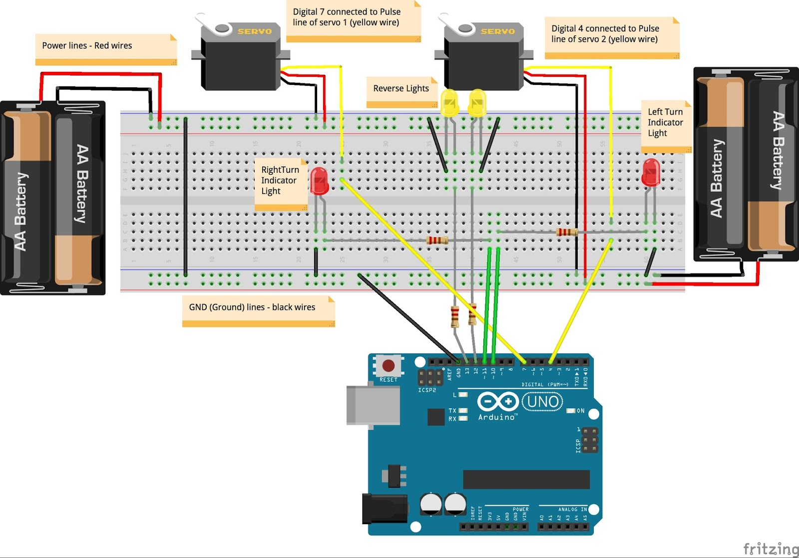 Move My Robot S4a Scratch For Arduino Project Car Part 2 Indicator Wiring Diagram Your Should Now Blink The Red Leds In Above Pic With Left Or Right Turns And Switch On Yellow While Moving Reverse