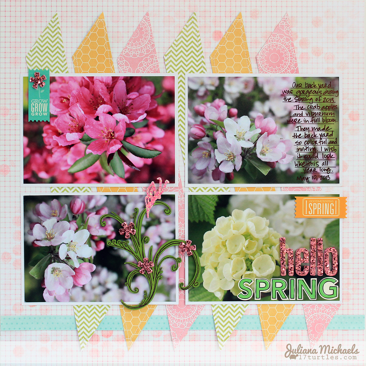 Hello Spring Scrapbook Page by Juliana Michaels using Pebbles Garden Party and Leaky Shed Studio Chipboard Butterfly on Garden Sprig