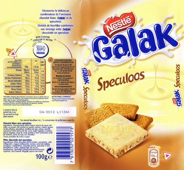 tablette de chocolat blanc gourmand nestlé galak speculoos