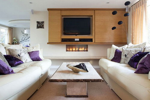 Refurbishment modern integrated small living room entertainment and firepalces designs