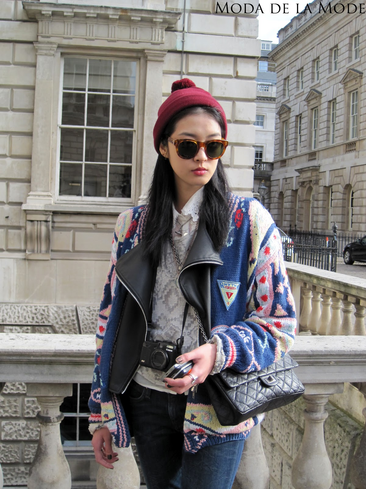 London Fashion Week Street Style A Mix Of Leather And Wool Moda De La Mode