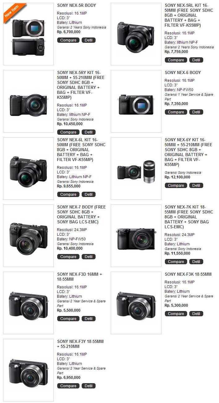 Harga Dan Spesifikasi Lengkap Kamera Mirrorless Sony Nex