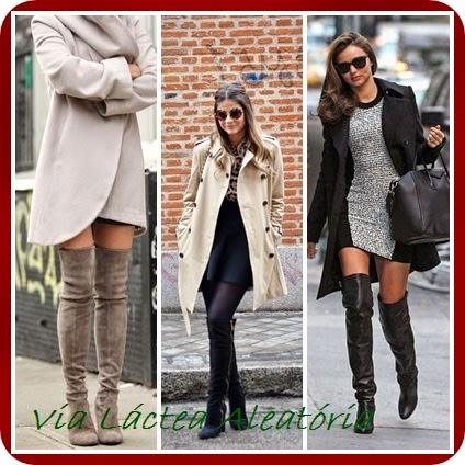 Looks de inverno usando sobretudo e botas cano alto