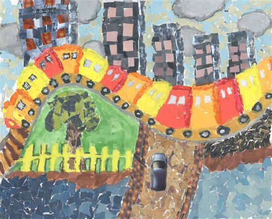 Painting by Aarya Khandkar ( part of Khula Aasmaan - Children's Art Exhibition by Indiaart Gallery )