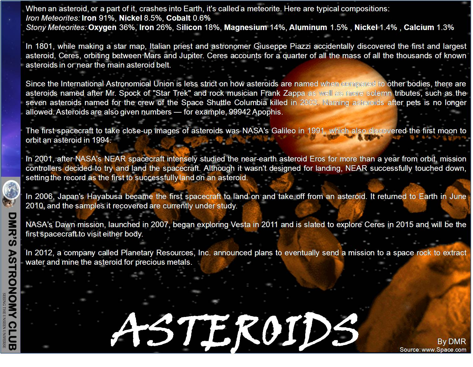 DMR'S ASTRONOMY CLUB: Solar System: Facts about Asteroids ...