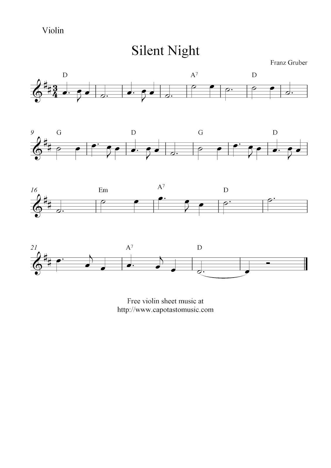 Sheet music silent night