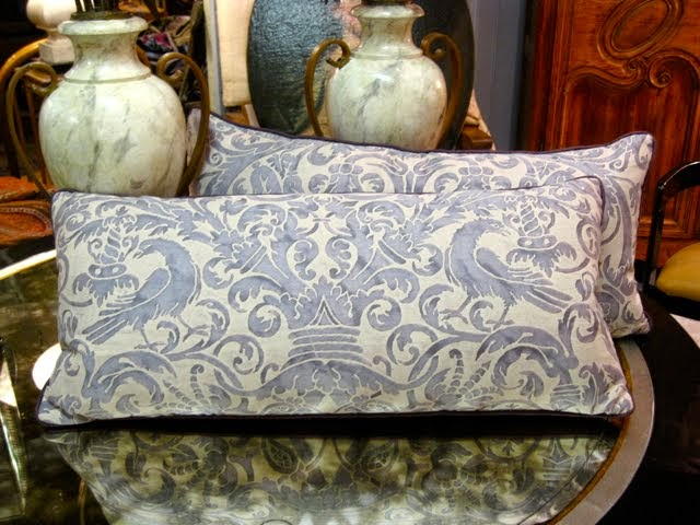 MJH DESIGN ARTS Vintage Fortuny Pillows and Alabaster Urns!