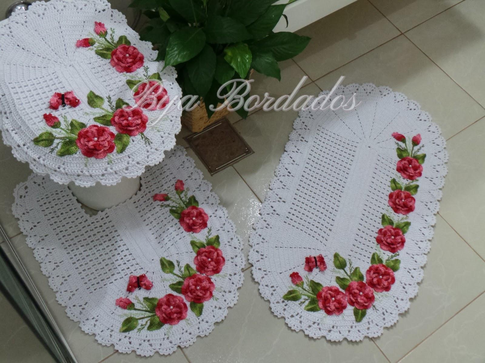 Bya Bordados Arte em Crochê e Bordados -> Pia De Banheiro Em Ingles