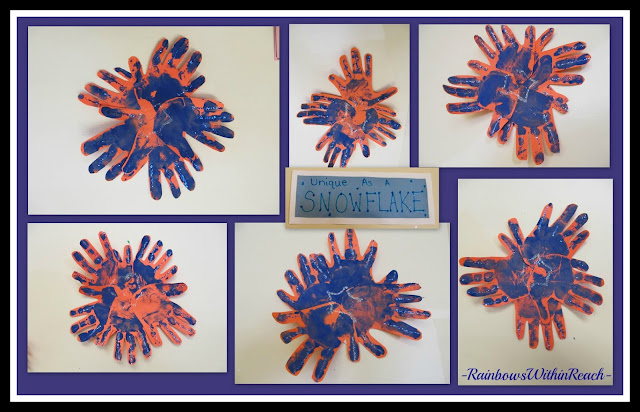 photo of: Snowflake Bulletin Board from Painted Hand Prints via RainbowsWithinReach