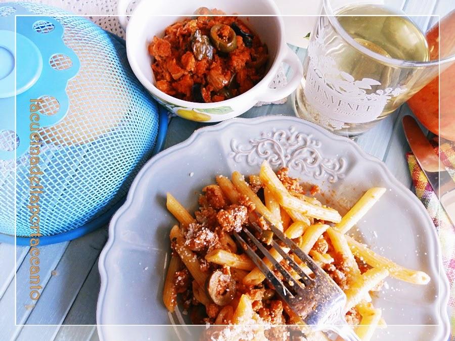 pennette rigate con ragù di soia, olive e capperi di pantelleria / penne rigate (pasta) with soy sauce, olives and capers