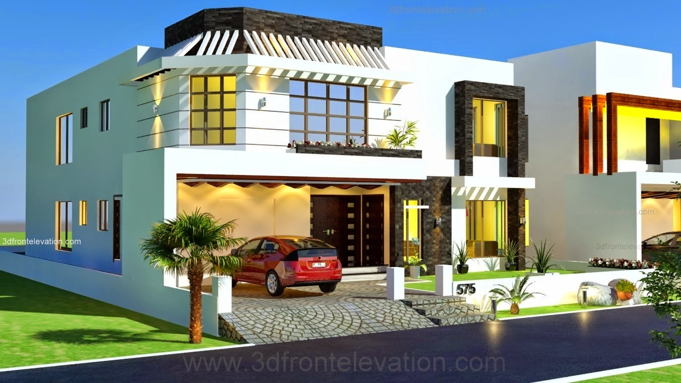 3d front 1 kanal house drawing floor plans for Canal front house plans