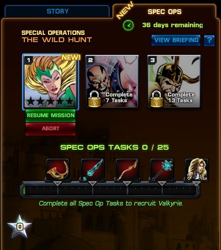 Marvel Avengers Alliance: Spec Ops 5 Task List