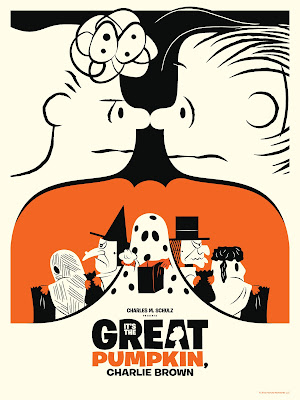 "Dark Hall Mansion - ""It's the Great Pumpkin, Charlie Brown"" Variant Screen Print by Michael De Pippo"