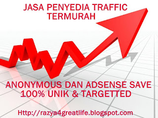 Jasa penyedia traffic, murah, adsense save, SEO, razya4greatlife