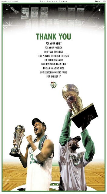 Boston Celtics thank Paul Pierce and Kevin Garnett with full-page ad in The Boston Globe