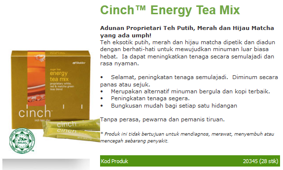 Cinch Energy Tea Mix, Tingkatkan Metabolisme, Energy Booster, Green Tea, Red Tea, White Tea, Taurina, Rooibos Tea, Set Slimming, Set Kurus, Bakar Lemak, pengedar shaklee penang, shaklee penang, shaklee kulim, cawangan shaklee, branch shaklee, shaklee2u, nak kurus, nak langsing, air tenaga, nak slim
