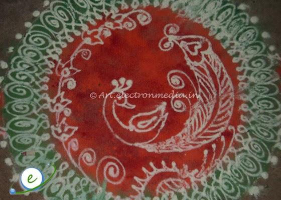 Sanskar Bharti Rangoli - Peacock Rangoli Designs ...