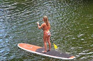 Jennifer Nicole Lee Paddleboard White Bikini Yoga Miami