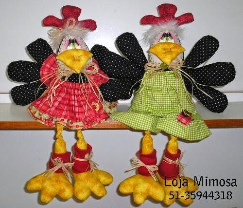 Moldes galinha de tecido em patchwork
